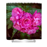 Pink Plumeria Abstract Flower Painting Shower Curtain
