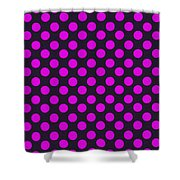 Pink Polka Dots On Black Fabric Background Shower Curtain