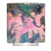 Pink Poodle Polka Shower Curtain