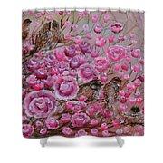 Pink Rose Birdies Shower Curtain