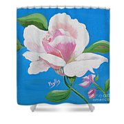 Pink Rose In Paint Shower Curtain