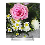 Pink Rose With Daisies Shower Curtain