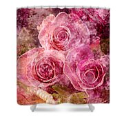 Pink Roses And Pearls Shower Curtain