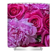 Pink Roses And Peonies Please Shower Curtain