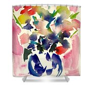 Pink Roses In A Blue Vase Shower Curtain