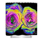 Pink Roses With Colored Foil Effects Shower Curtain