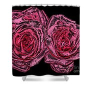 Pink Roses With Dark And Rough Chrome  Effects Shower Curtain