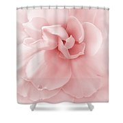 Pink Ruffled Begonia Flower Shower Curtain