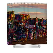 Pink Sky At Cadillac Ranch Shower Curtain