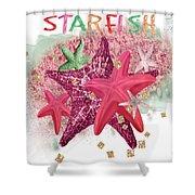 Pink Starfish Shower Curtain