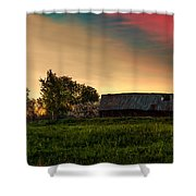 Pink Sunrise. Old Barn An Cherry Blossom Shower Curtain