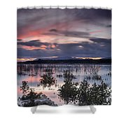 Pink Sunset At The Lake Shower Curtain