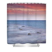 Pink Sunset At The Mediterranean Shower Curtain