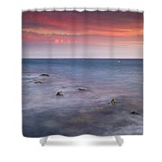 Pink Sunset At The Mediterraneas Sea Shower Curtain