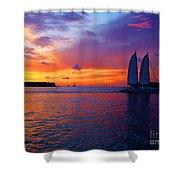 Pink Sunset In Key West Florida Shower Curtain by Susanne Van Hulst