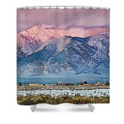 Pink Sunset On Taos Mountain Shower Curtain