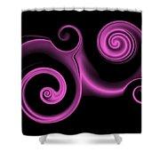 Pink Swirl On Black Shower Curtain