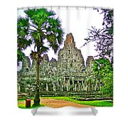 Pink Tower In The Bayon In Angkor Thom In Angkor Wat Archeological Park Near Siem Reap-cambodia Shower Curtain