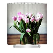 Pink Tulips In A Vase Shower Curtain