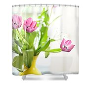 Pink Tulips In Yellow Vase Shower Curtain