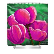 Pink Tulips On Green Shower Curtain