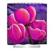 Pink Tulips On Purple Shower Curtain
