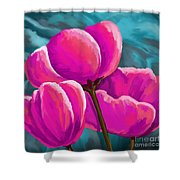Pink Tulips On Teal Shower Curtain