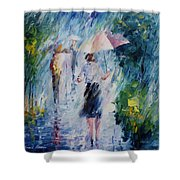 Pink Umbrella - Palette Knife Oil Painting On Canvas By Leonid Afremov Shower Curtain