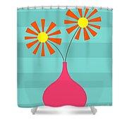 Pink Vase On Blue Shower Curtain