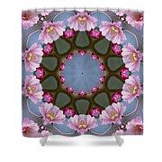 Pink Weeping Cherry Blossom Kaleidoscope Shower Curtain