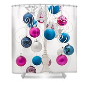 Pink White And Blue Christmas Shower Curtain by Anne Gilbert