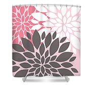 Pink White Grey Peony Flowers Shower Curtain