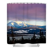 Pink Winter Clouds Shower Curtain