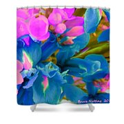 Pink With Blue Irises Shower Curtain