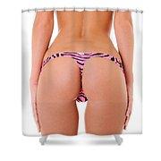 Pink Zebra Thong Shower Curtain