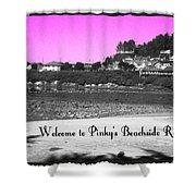 Pinky's Beachside Resort Shower Curtain