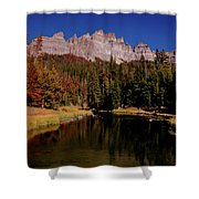 Pinnacle Buttes On Brooks Lake Creek Rocky Mountains Shower Curtain