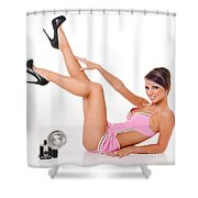 Pinup Girl In Pink Shower Curtain