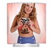 Pinup Photographer Shower Curtain
