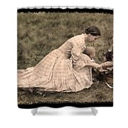 Pioneer Mother And Children Shower Curtain