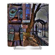 Pioneer Square Totem Pole Shower Curtain