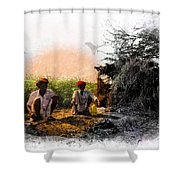 Pipe Smoking Ritual Chillum India Rajasthan 2 Shower Curtain