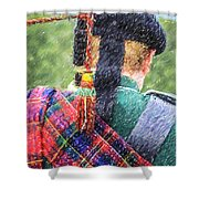 Piper In Red Macpherson Tartan Shower Curtain