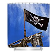 Pirate Flag On Ships Mast Shower Curtain