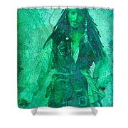 Pirate Johnny Depp - Shades Of Caribbean Green Shower Curtain
