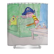 Pirate Poster For Kids Shower Curtain