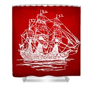 Pirate Ship Artwork - Red Shower Curtain