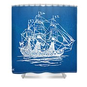 Pirate Ship Blueprint Artwork Shower Curtain by Nikki Marie Smith