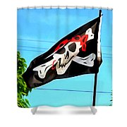 Pirate Ship Flag Of The Skull And Crossbones Shower Curtain