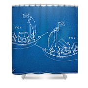 Pirate Ship Patent - Blueprint Shower Curtain